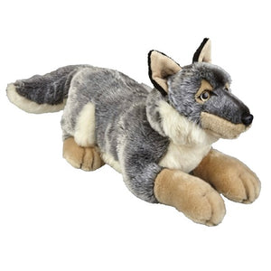 This large laying Wolf cuddly soft toy measures 50 cm and is suitable for all ages.  CE tested and certified and made from high quality materials delivering you a superb product that will be cherished for years.  The super soft huggable filling in this toy is made from recycled PET.