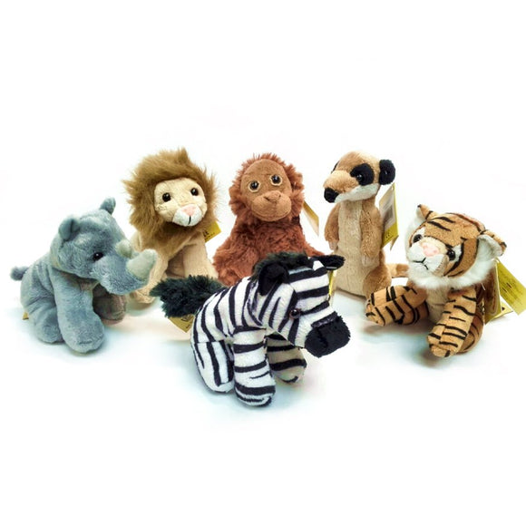 set of 6 Jungle Soft Toy Animals, each 13cm tall, Rhino, Lion, Orangutan, Meerkat, Tiger and Zebra,