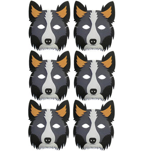 6 Sheepdog Collie Foam Children's masks ideal for schools, theaters, parties and groups