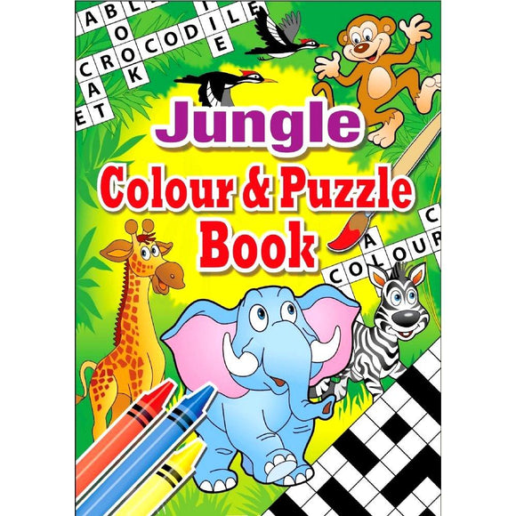 Jungle Themed Children's Colouring and Puzzle Book for Party Bags