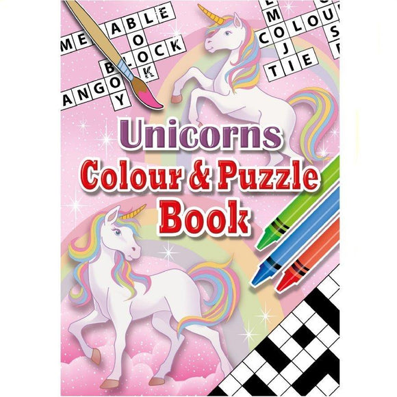 Unicorn Themed Children's Colouring and Puzzle Book for Party Bags