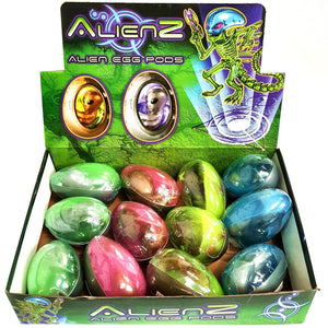 Box of 12 Alien Slime Pod Egg Toys fully CE tested and approved party bag filler favour