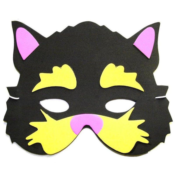 Children's Black Cat Face Mask for Halloween Fancy Dress