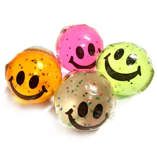 Smiley Glitter Bouncy Ball Pocket Money Toy Party Bag Filler Favor