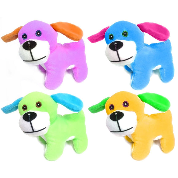 Brightly Coloured 13cm Puppy Dog Cuddly Plush Soft Toy, Gift, Party Bag Filler Favor