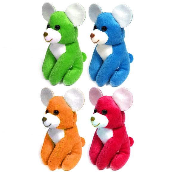 13cm Brightly Coloured Mouse Cuddly Plush Soft Toy Party Bag Filler Favor Gift