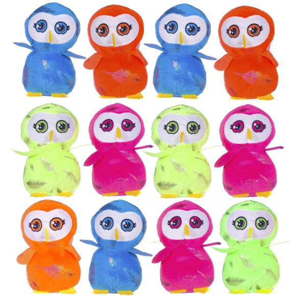 Pack of 12 Brightly Coloured Owl Cuddly Plush Soft Toys
