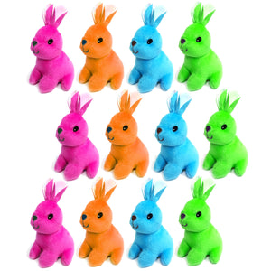 Set of 12 Brightly Coloured Bunny Rabbit Cuddly Plush Toys, Gift, Party bag Filler Favor and Fundraising Pack