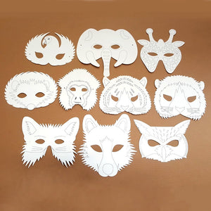 10 Plain Card Woodland and Jungle Animal Face Masks