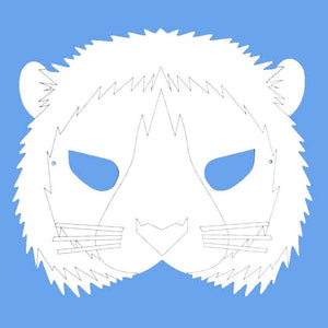 Plain Card Children's Lion Face Mask to Colour In for Party Bags