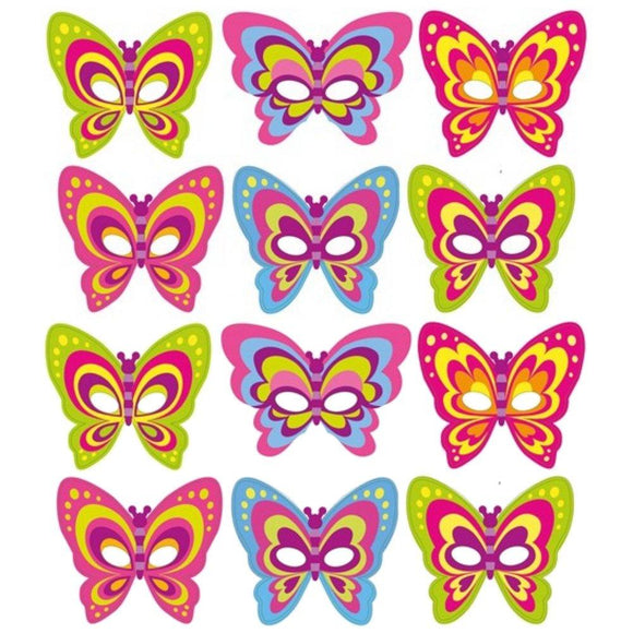 12 Card Butterfly Party Masks for Adults and Children