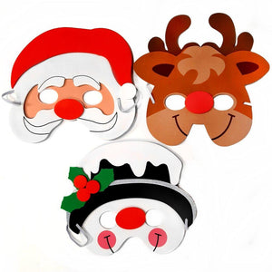 Set of 3 Christmas Masks, including Santa, Rudolph and a Snowman