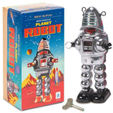 Retro Tin Mechanical Robot Toy Chrome