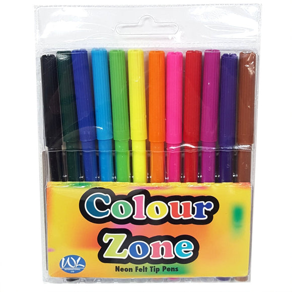 Set of 12 Felt Tip Colouring Pens Party Bag Fillers Favors