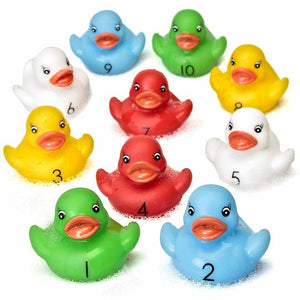 10 Counting Rubber Ducks Bath Time Teaching Duck Race Toy
