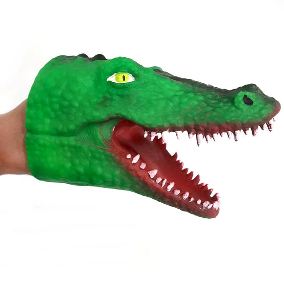 Crocodile Adult and Child Rubber Hand Puppet Dark Green