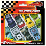 Set of 8 Die Cast Toy Cars Boxed.
