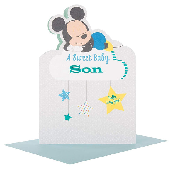Mickey Mouse Sweet baby Son Congratulations Card