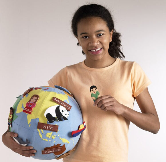 World Globe with Fabric Cover & 20 Attachable Motifs & Pump