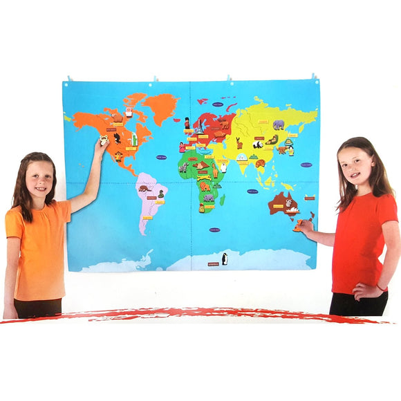 Fabric World Map with 67 Attachable Motifs