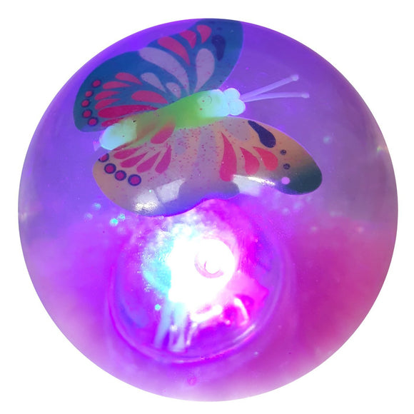 Flashing Pink Glitter Water Filled Bouncy Ball with Butterfly Figure Inside