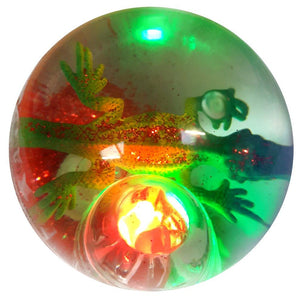 Bouncy Flashing Glitter Water Ball - Lizard