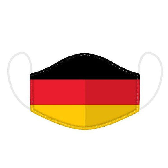 This Age 12+ to Adult Size 2 layer face mask covering is in a German Flag design.  Large Size (Rough Size Age 12+) 23 cm x 13 cm