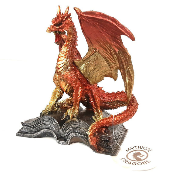 Gold/Orange Dragon Standing on Book Metallic Figurine Figure Statue