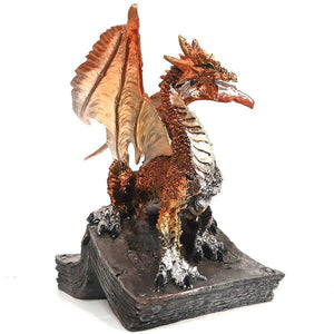 Gold Dragon Standing on Book Figurine Statue Gift