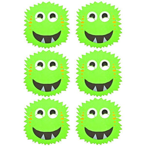 6 Green Monster Foam Halloween Children's masks ideal for schools, groups, parties and theaters