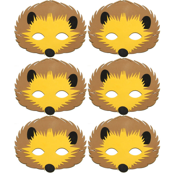 6 Foam Hedgehog Children's masks for schools, parties, theater's and groups