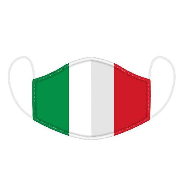 This Age 12+ to Adult Size 2 layer face mask covering is in an Italy Flag design.  Large Size (Rough Size Age 12+) 23 cm x 13 cm
