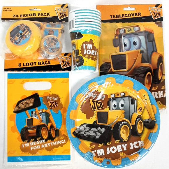 My 1st JCB Tableware, Party Bags & Favours Party Pack for 24 Kids - Birthday