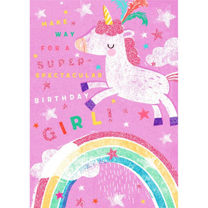 Hallmark Birthday Girl Unicorn and Rainbow Greetings Card
