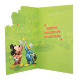 Disney Mickey Mouse Pluto and Donald Your 3 Lets Roll Birthday Card inside message