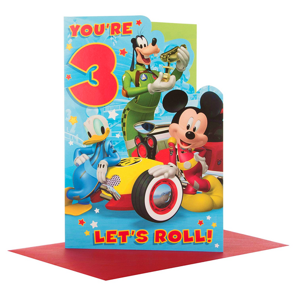 Disney Mickey Mouse Pluto and Donald Your 3 Lets Roll Birthday Card