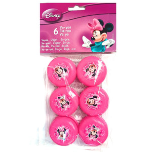 A Fun pack of 6 bright pink Minnie Mouse yoyo toys, perfect party favour loot bag fillers.  Suitable for age 5 years old+