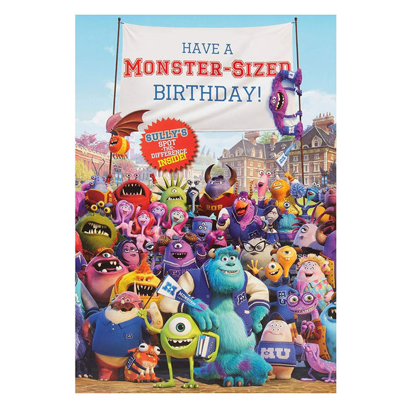 Disney Pixar Monsters University Hallmark Birthday Card