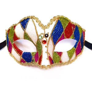 Adults Multi Colour Masquerade Mask - Fancy Dress Party Venetian Harlequin