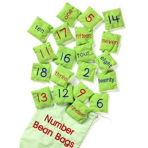 Set of 20 Numbered Bean Bags with corresponding number written on reverse side. Sensory, Educational Toy