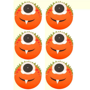 6 Orange Monster Halloween foam masks ideal for schools, parties, groups and theaters