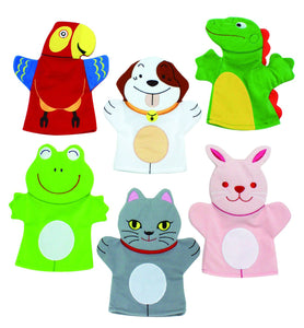 Set of 6 Pet Animal Hand Puppets - Children's School Story Telling Puppets