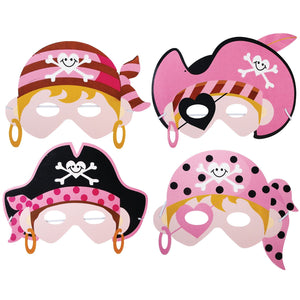 Children's Pink Pirate Face Masks for Fancy Dress and Party Bags