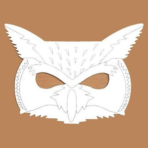 Plain Card Children's Owl Face Mask to Colour In for Party Bags