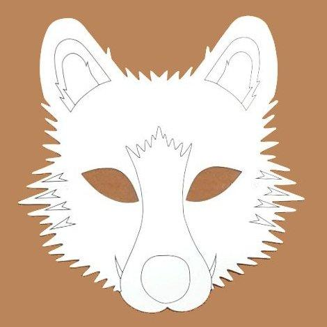 Plain Card Children's Wolf Face Mask to Colour In for Party Bags