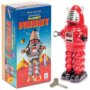 Tin Planet Robot Mechanical Retro Toy Red
