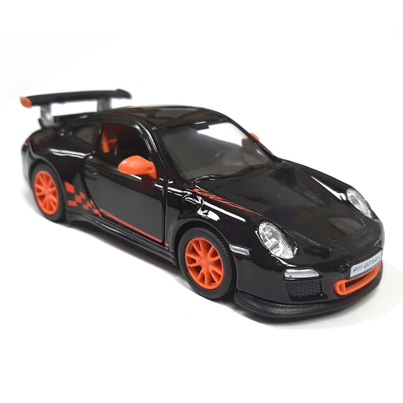 This iconic die cast model toy car of the Porsche 911 GT3 is available in 3 colours, orange, black, gun metal grey and white. Each car features the GT3 logos and stencils, opening doors and contrast colour door mirrors. Each model car measures approx. L 12.5 cm x W 4.5 cm x H 4 cm