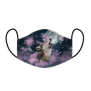 This Age 12+ to Adult Size 2 layer face mask covering is in a Protector of the North Wolf  design.