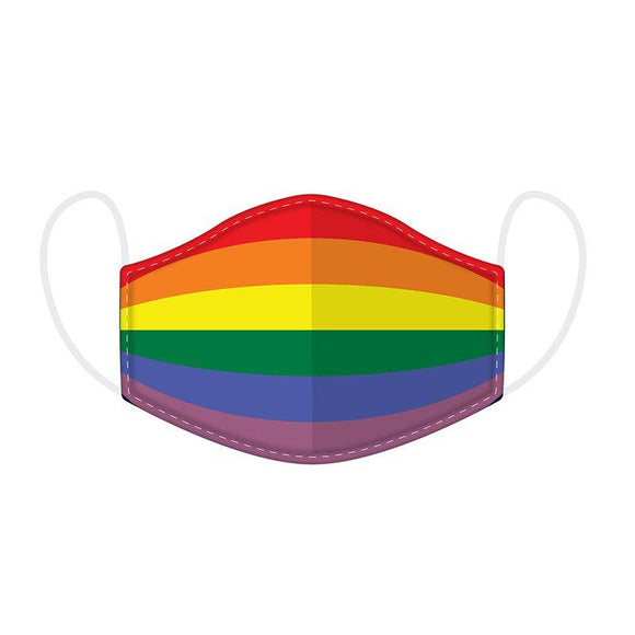 Rainbow Reusable 2 Layer Face Mask Covering - Large 23 cm x 13 cm