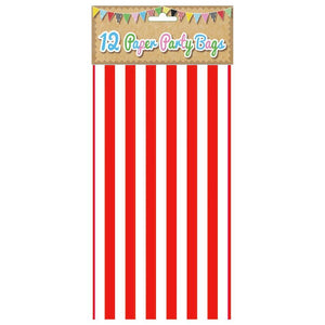 12 Red Candy Stripe Paper Party Bags